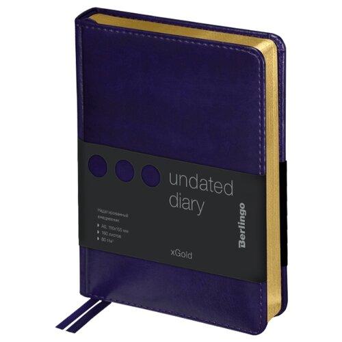 Купить Ежедневник Berlingo xGold недатированный, искусственная кожа, А6, 160 листов, фиолетовый, Ежедневники, записные книжки