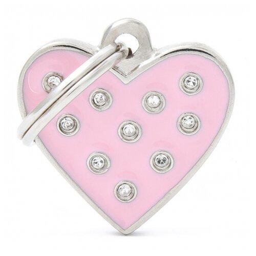 Адресник на ошейник My Family Colors Chic Сердце розовый