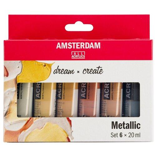 Royal Talens Набор акриловых красок Amsterdam Standart 6цв*20мл металлик, Наборы для рисования  - купить со скидкой