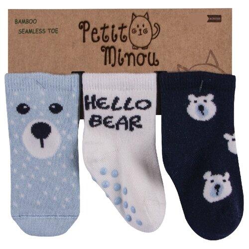 Купить Носки Petit Minou комплект из 3 пар, размер 6-12 мес, синий/белый/голубой