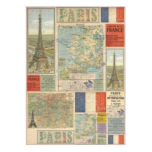 Купить Карта для декупажа Карта - Франция 50 х 70 см 1 лист, Stamperia, Карты, салфетки, бумага