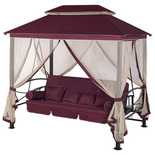 Садовые качели 4-местные с москитной сеткой Удачная мебель Пальмира винный