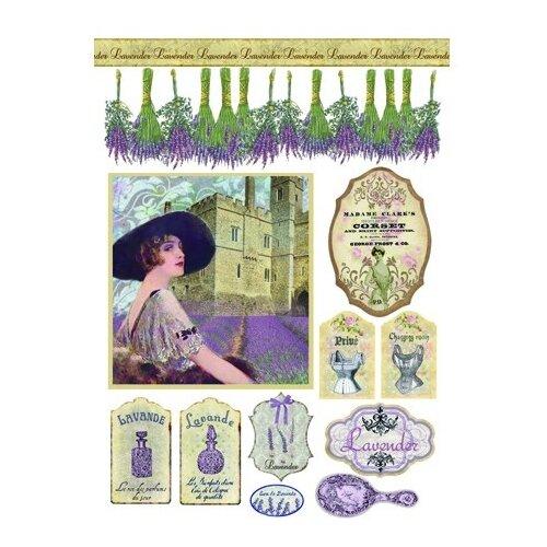 Купить Бумага рисовая мини - формат Лаванда 21 х 29, 7 см (A4) 1 лист, Stamperia, Карты, салфетки, бумага