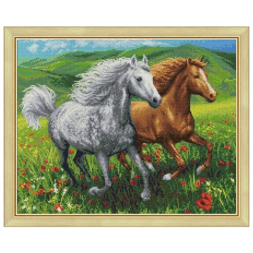 Алмазная живопись Набор алмазной вышивки Кони на лугу (АЖ-1766) 50х40 см printio кони на лугу