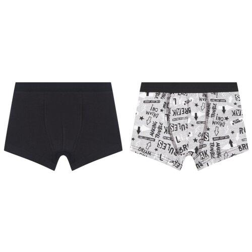 Купить Трусы Leader Kids 2 шт., размер 110-116, черный/серый, Белье и пляжная мода
