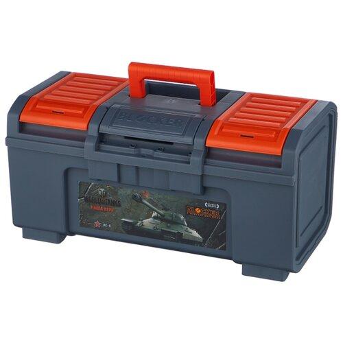 Ящик с органайзером BLOCKER World of Tanks BR5017 48x26.8x23.6 см 19'' серо-свинцовый/оранжевый ящик для инструментов blocker world of tanks br5016срсвцор 51 х 26 х 22 см