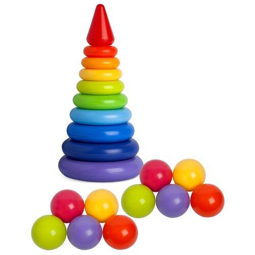 Купить Пирамидка Росигрушка Радуга Макси 2156 с мячиками, 21 деталь, Пирамидки