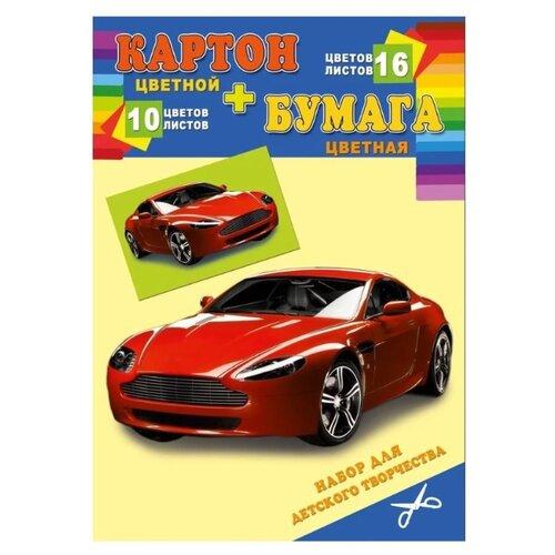 Купить Набор цветного картона и цветной бумаги Быстрая машина Prof-Press, 21х29.7 см, 26 л., Цветная бумага и картон