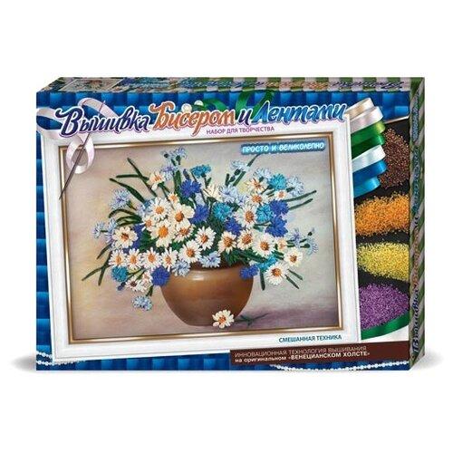 Купить Danko Toys Набор для вышивания бисером и лентами Васильки 35 х 25 см (БВ-01Р-10), Наборы для вышивания