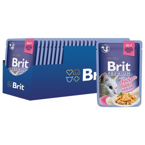 Фото - Корм для кошек Brit Premium с курицей 24шт. х 85 г (кусочки в желе) brit набор паучей brit premium family plate jelly для взрослых кошек в желе 85 г х 12 шт курица говядина форель и лосось