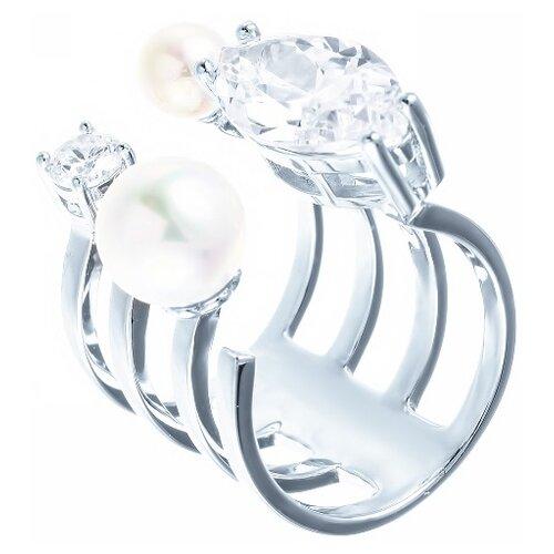 Фото - ELEMENT47 Кольцо из серебра 925 пробы с жемчугом майорика и фианитами OL01367D-KO-WM-001-WG, размер 17 jv кольцо с жемчугом и фианитами из серебра ol01367d ko wm 001 wg размер 17