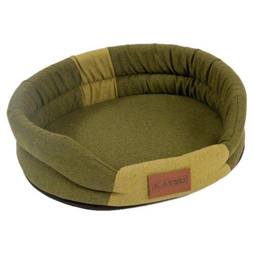 Лежак для собак и кошек Katsu Animal M 72х60х10 см хаки/салатовый