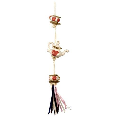 Елочная игрушка Goodwill Сказочное Чаепитие 17 см (B 96412) белый/красный/золотистый.
