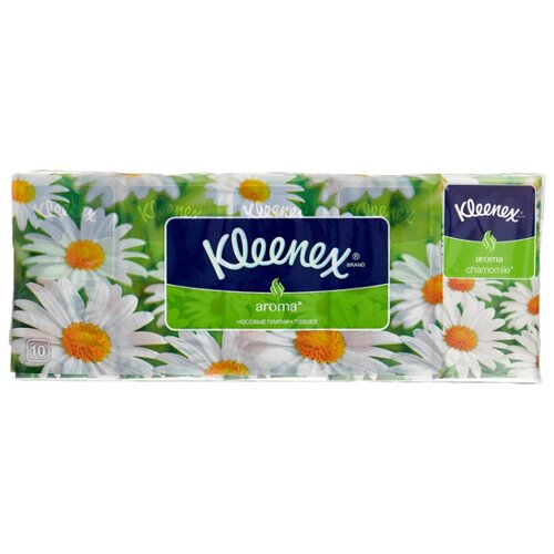 цена Платочки Kleenex Aroma Ромашка 21 х 20 см, 10 пачек онлайн в 2017 году