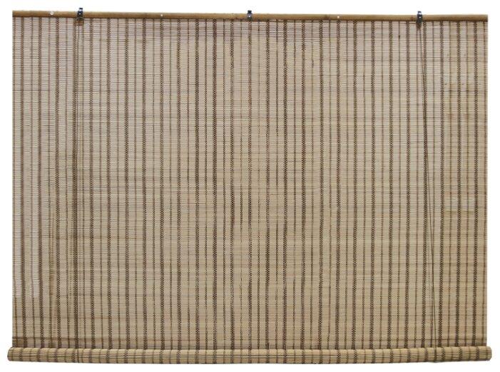 Рулонная штора Эскар бамбуковые (охра), 160х160 см