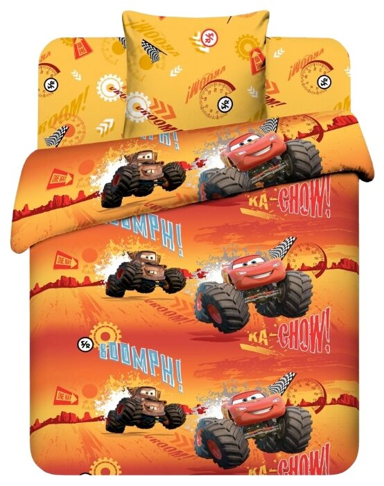 Постельное белье 1.5-спальное Василек Дисней Молния Маккуин, бязь оранжевый