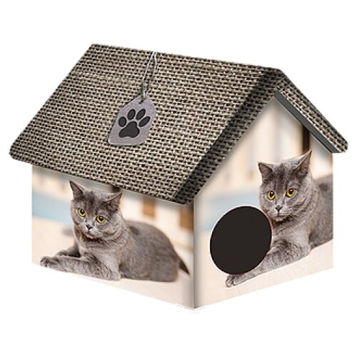 Домик для собак и кошек PerseiLine Британец 33х33х40 см серый