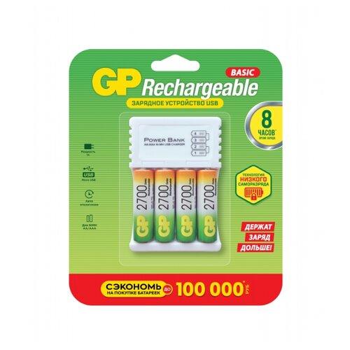 Фото - Аккумулятор 2700 мА·ч GP Rechargeable 2700 Series AA + Зарядное устройство microUSB PowerBank, 4 шт. gp gpu811 и 4 аккум aa hr6 2700mah адаптер gpu811gs270aahc 2cr4