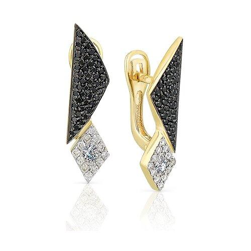 Мастер Бриллиант Золотые серьги с черным бриллиантом, бриллиантом 2-107-124