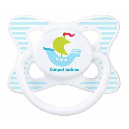Купить Пустышка латексная классическая Canpol Babies Summertime 0-6 м (1 шт) белый/кораблик, Пустышки и аксессуары