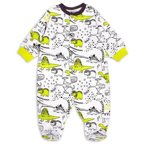 Купить Комбинезон Веселый Малыш размер 86, серый/желтый/динозаврик, Комбинезоны
