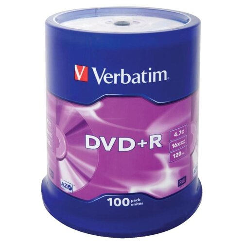 Фото - Диск DVD+R 4.7Gb Verbatim 16x Cake Box (100шт) диск dvd r verbatim 4 7gb 16x cake box 50 штук printable 43512