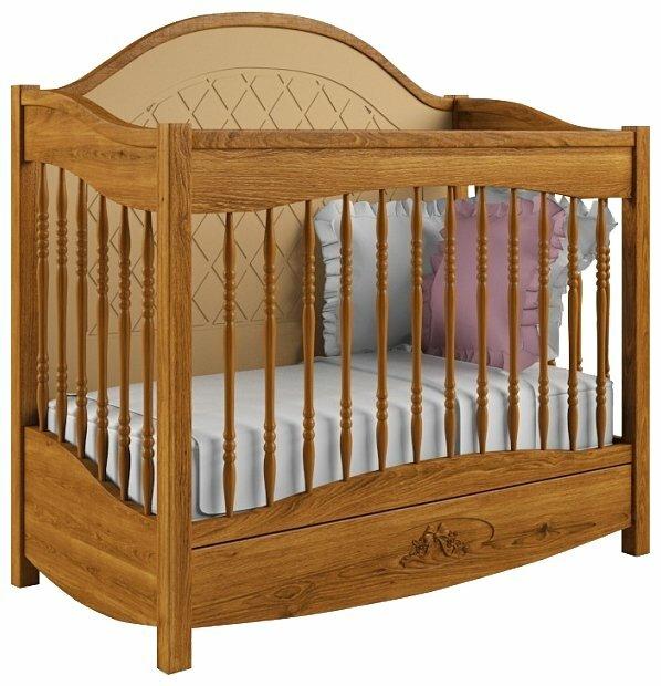 Кроватка Nom du Bebe Людовик (стандартная, с ящиком, дуб)