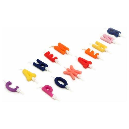 Paterra Набор свечей для торта С днём рождения (13 шт.) синий/желтый/красный/оранжевый/розовый