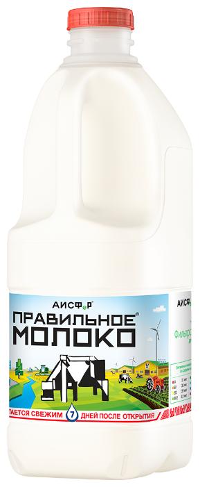Молоко Правильное Молоко пастеризованное 3.2-4% 2л