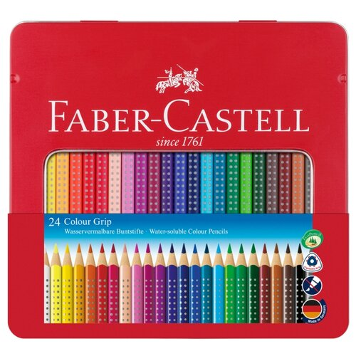 Faber-Castell Цветные карандаши Grip, 24 цвета (112423) faber castell цветные карандаши faber castell jumbo grip metallic 5 цветов