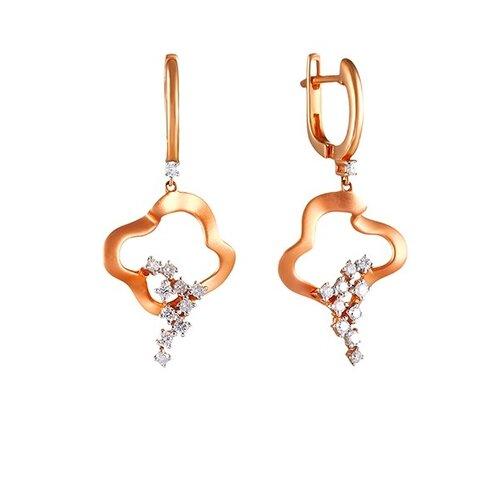 JV Серьги из розового золота 585 пробы с бриллиантами AAS-3831E-SR-PINK