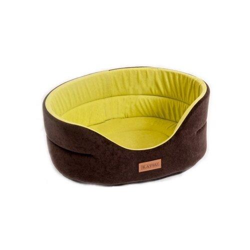 Лежак для собак Katsu Suedine S 46х42х18 см коричневый/оливковый