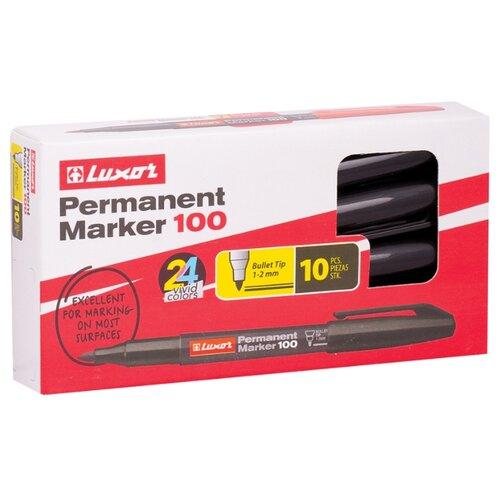 Купить Luxor Набор черных перманентных маркеров 100, 12 шт., черный, Маркеры