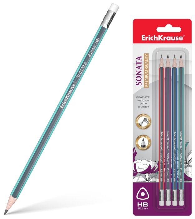 ErichKrause Набор чернографитных трехгранных карандашей с ластиком Sonata 4 шт (45618)