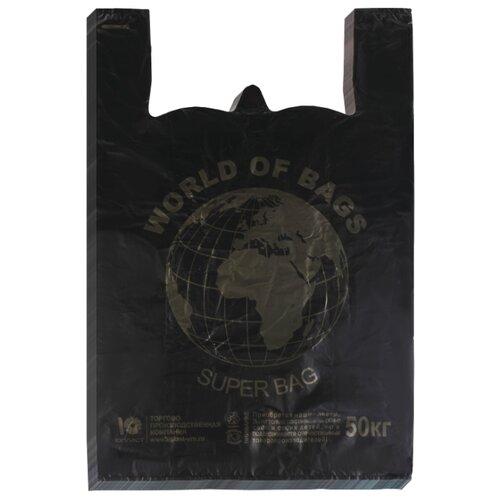 Пакет-майка Юпласт World 43(+20)х65 см, 30 мкм черный 100 шт.