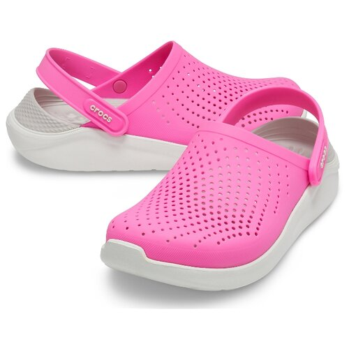 сабо женские crocs classic mammoth luxe цвет черный 204211 001 размер m7 w9 39 40 Сабо Crocs LiteRide Clog, размер 39(W9), electrique pink/almost white