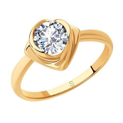 SOKOLOV Кольцо из золочёного серебра с фианитом 93010811, размер 18.5 фото