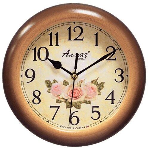 Часы настенные кварцевые Алмаз P32 коричневый/бежевый часы настенные кварцевые алмаз c25 розовый бежевый