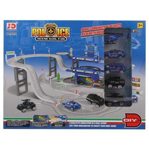 Купить JD Chjiahuida Toys Police 59970 голубой/серый, Детские парковки и гаражи