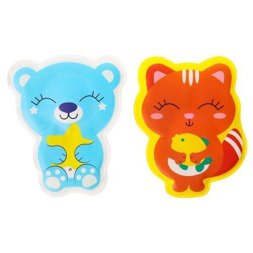Набор для ванной Крошка Я Мишка и кошечка (3782352) оранжевый/голубой набор посуды для кормления крошка я мишка 3275230 4 предмета