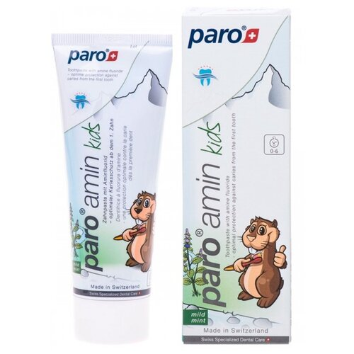 Зубная паста Paro на основе аминфлюорида 0-6 лет, 75 мл, Гигиена полости рта  - купить со скидкой