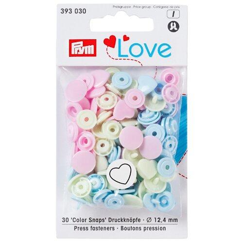 Купить Prym Кнопки непришивные Love - Color Snaps сердце 393030, розовый/нежно-зеленый/голубой 12.4 мм, 30 шт.
