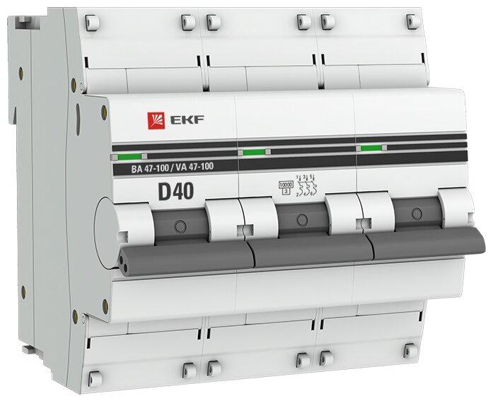 Автоматический выключатель EKF ВА 47-100 3P (D) 10kA