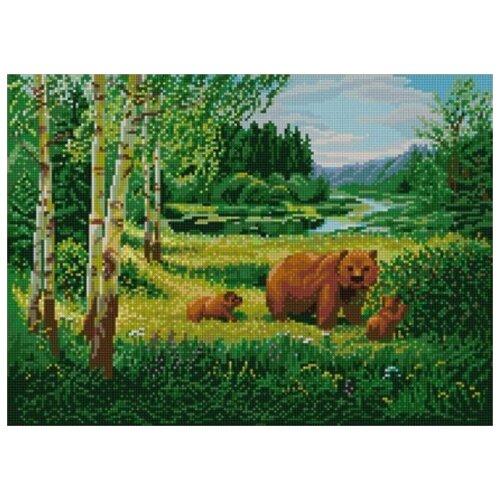 Купить Пейзаж с медведями (рис. на сатене 29х39) 29х39 Конек 1233, Конёк, Канва