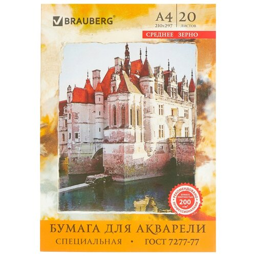 Купить Папка для акварели BRAUBERG 29.7 х 21 см (A4), 200 г/м², 20 л., Альбомы для рисования
