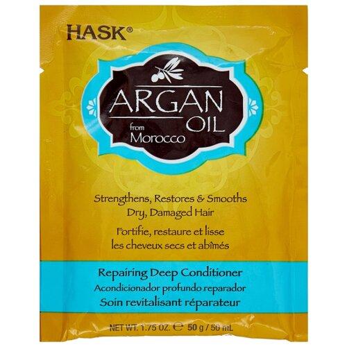 Hask Argan Oil Интенсивная маска для восстановления волос с аргановым маслом, 50 мл интенсивная маска для восстановления волос с аргановым маслом hask argan oil repairing deep conditioner packet 50 мл