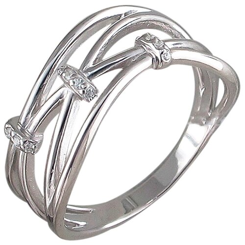 Эстет Кольцо с 12 фианитами из серебра 01К158570, размер 17.5 ЭСТЕТ