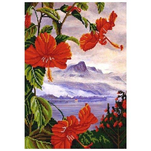 Купить Экзотические цветы 3 (рис. на сатене 29х39) 29х39 Конек 9964, Конёк, Канва