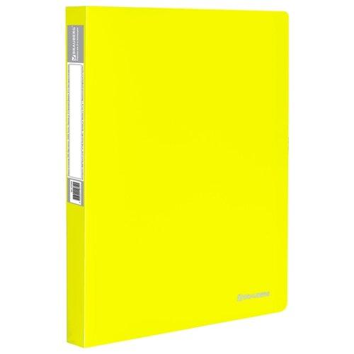 Купить BRAUBERG Папка на 2 кольцах Neon А4, 25 мм желтая, Файлы и папки