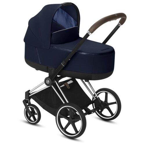 Купить Коляска для новорожденных Cybex Priam III (люлька) indigo blue/chrome/brown, цвет шасси: серебристый, Коляски
